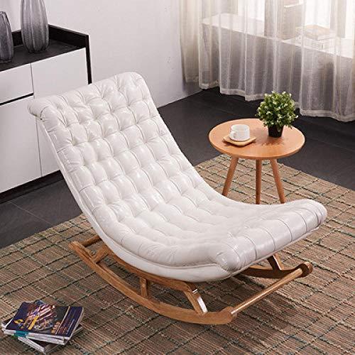 WANGYG Mecedoras de salón Mecedora de Madera Maciza Adulto Anciano Siesta casa reclinable balcón Dormitorio Sala de Estar sillón Blanco