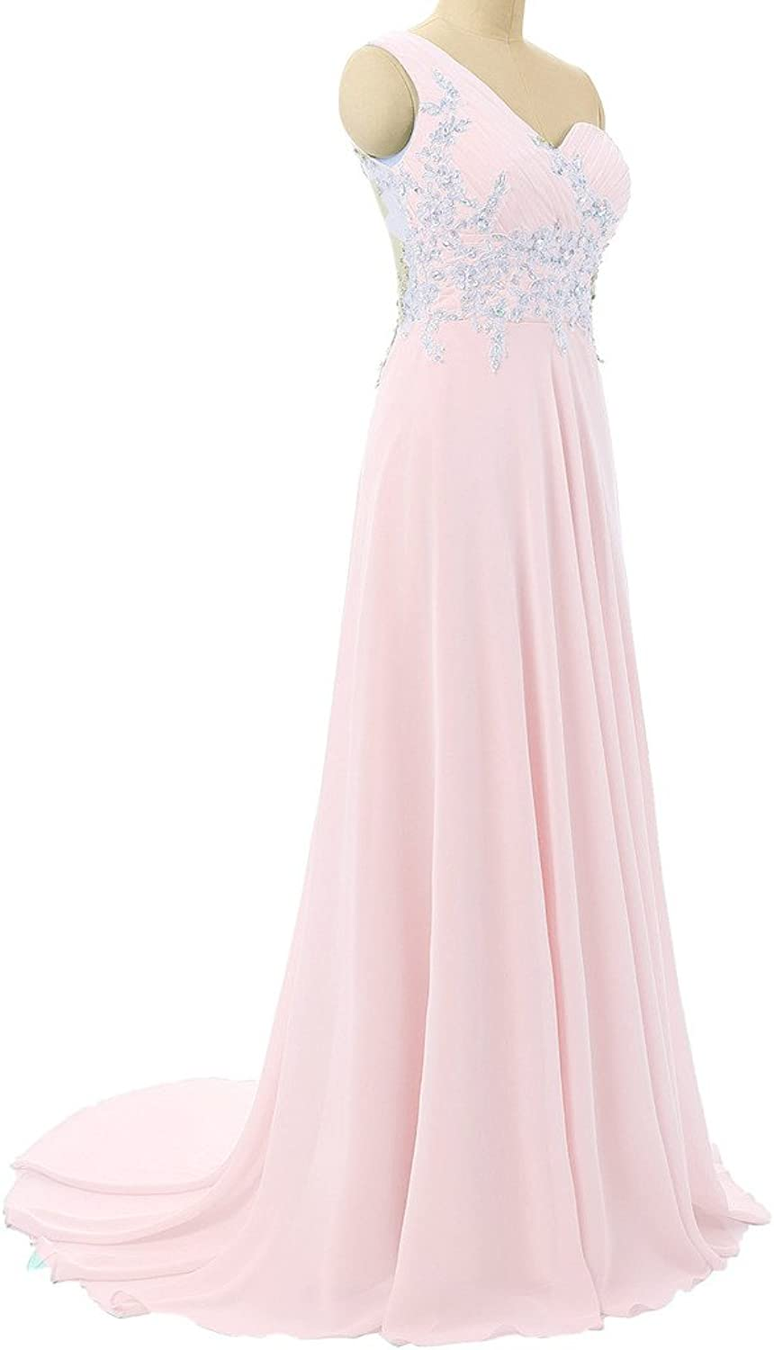 Lemai One Shoulder Sheer Back Long A Line Formal Crystals Prom Evening Dresses