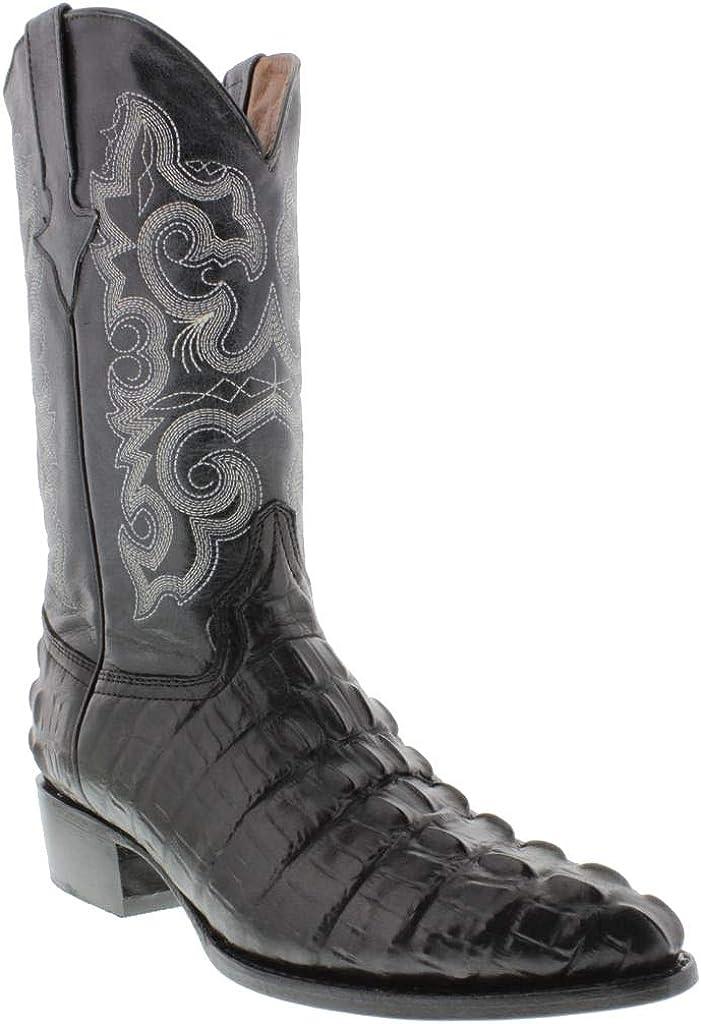 Award Mens Black Western Cowboy Boots Spring new work Crocodile Print Tail J T Leather