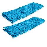 Filzada 2X Cubierta de Mopa de Piso Chenille (40 cm Azul) - Cubierta del Limpiador de Microfibra para Limpieza en seco y húmeda