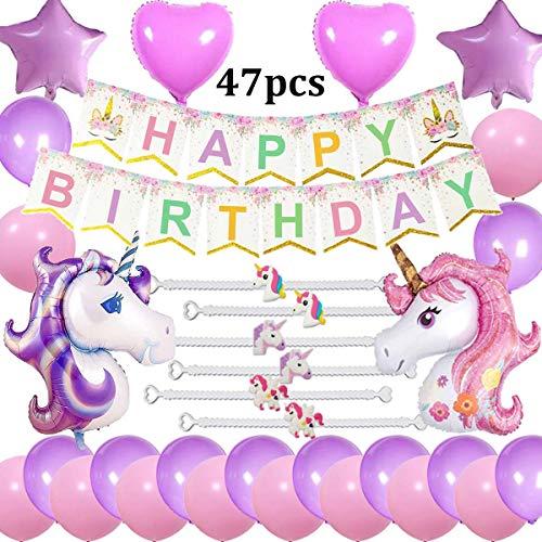 Suministros Fiesta cumpleaños Unicornio Decoraciones, Happy Birthday Bandera, 2 enormes Unicornio, 6 Pulseras, 2 Globos de corazón y 2 Estrellas, 20 Globos Regalo para niñas Mujeres Niños