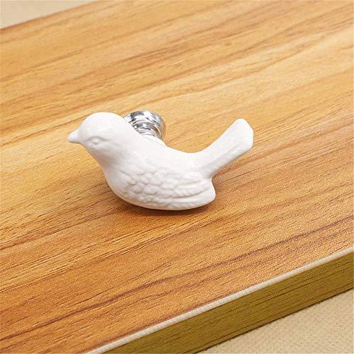 Ccgdgft keramiek aardewerk knoppen Set/10 Stks keramiek aardewerk knoppen, Kartoon vogels vorm Vintage landelijke stijl chique kast dressoir kast keuken lade Pull handgrepen trekker knoppen, 55mm*33mm*32mm, Kleur: wit