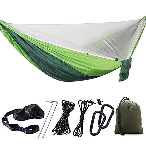 Hebon Hamaca de camping con mosquitero automático de apertura rápida Hamacas de paracaídas Hamaca doble para interior y exterior, camping, mochileros, viajes, senderismo, playa