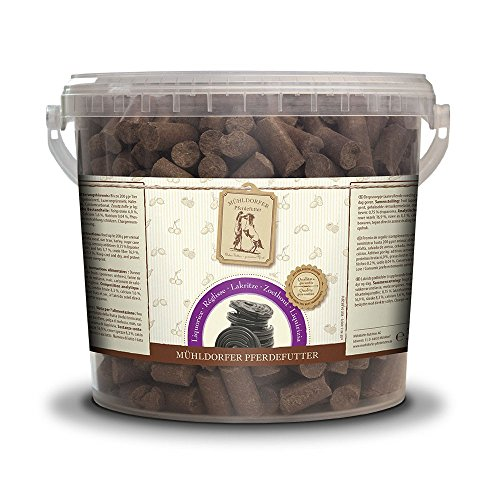 Mühldorfer Lakritz Leckerli, 3 kg, Leckerlis für Pferde, Belohnungsfutter mit Lakritzgeschmack, bröckeln, schmieren und kleben nicht