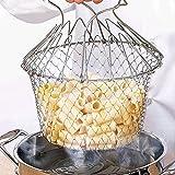 Cestello per friggere, Cestello per friggere pieghevole in acciaio inossidabile Cestello per cucinare Filtro per patatine fritte Strumento per cucinare cucina per friggere