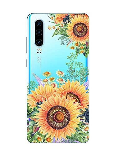Oihxse Funda transparente de silicona compatible con Huawei P9 Plus, transparente, fina, de silicona suave y fina, flexible TPU transparente, resistente a los arañazos, diseño de girasol