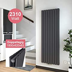 Meykoers Chłodnica Flat 1800x620mm PanelRadiator Design Ogrzewanie Pionowe podwójne połączenie centralne - Antracyt