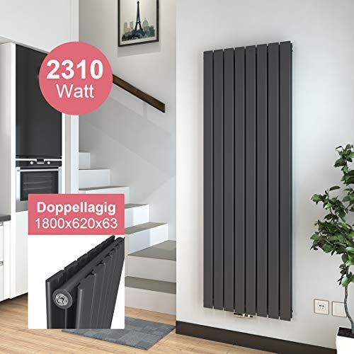 Vertikal Heizkörper Design Paneelheizkörper 1800x620mm Anthrazit Doppellagig Mittelanschluss Heizung