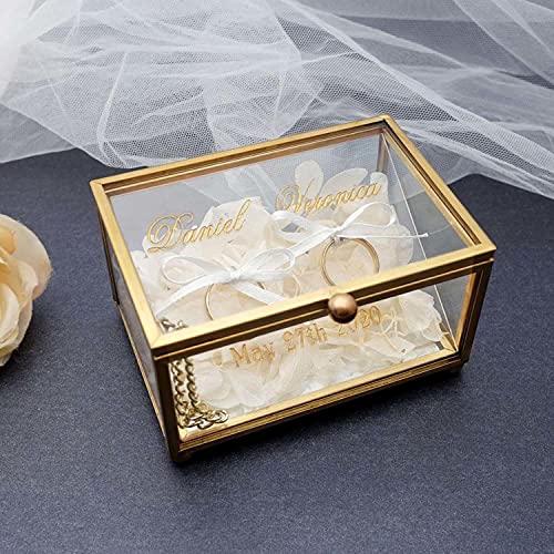 BAWAQAF Caja de anillo de boda personalizada,Caja de anillo de compromiso,Caja de anillo de vidrio de oro, titular de anillo de vidrio personalizado,Fecha de nombr