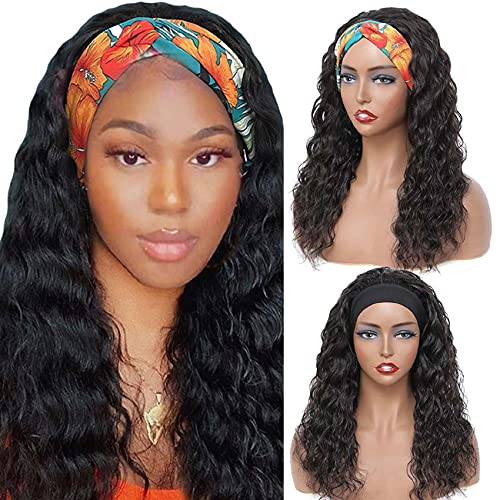 Curly Headband Wig for Black Women Brazilian Remy Deep Wave Human Hair Wig Scarf Wig Glueless None Lace Front Wigs Headband Wig (22Inch,180% Density,Natural Color) with 2 Free Headbands Attached