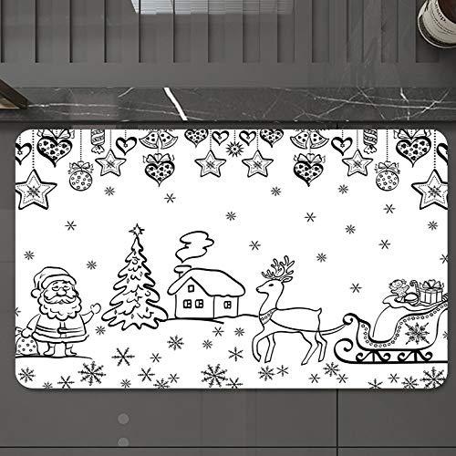 Alfombrilla de Baño Antideslizantes de 50X80 cm,Navidad, adornos de árbol con trineo de Sant, Tapete para el Piso Lavable a Máquina con Microfibras Suaves Absorbentes de Agua para Bañera, Ducha y Baño