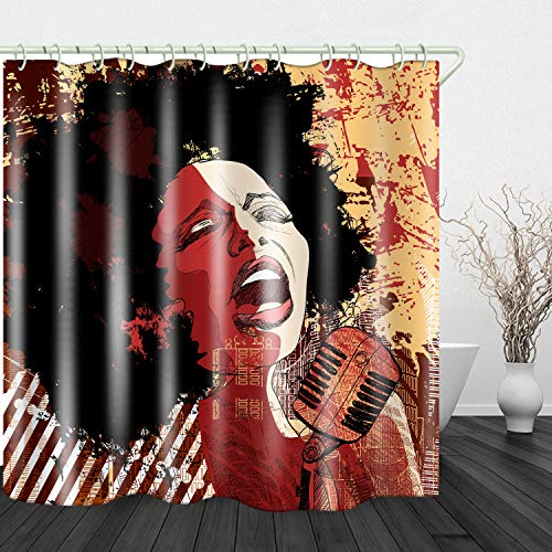JINYAO African Woman Performing Print Waterproof Fabric Shower Curtain for Bathroom Home Decor Covered Bathtub Curtains Liner Includes with Hooks 71 x 71 Inches