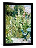 Kunst für Alle Cuadro con Marco: Berthe Morisot Roses Tremieres 1884' - Impresión artística Decorativa con Marco, 50x60 cm, Negro/Canto Gris