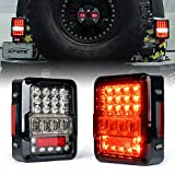 Xprite High Intensity LED Tail Lights for Jeep Wrangler JK JKU 2007-2018, Led Taillights w/ 4D Clear Lens Parking light, Brake Turn Signal Lamp and Reverse Lamps Function (DOT Approved)
