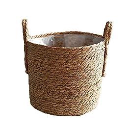 Cache Pot,Pot de Fleur,Pot Plante,Paille fabriqué à la main Panier de rangement tissé panier en rotin et osier Planteur…