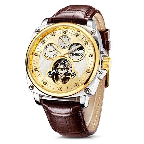 Time100 Orologio da Uomo Doppio Fuso Orario Fase Lunare Automatico Meccanico Orologio Time Chaser #W60045G (Oro)