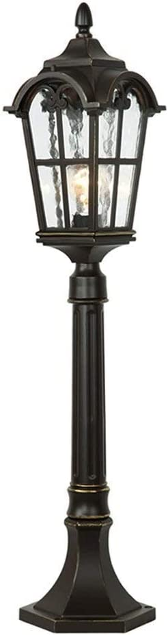 LYTBJ 1 lamp 84cm Victorian Garden lamppost Lantern Waterproof Rust-Proof die-Casting Aluminum Landscape lamp Retro Villa Courtyard Streetlight Channel Entrance Column lamp (Color : Black)