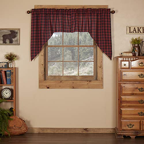 VHC Brands Rustic & Lodge Kitchen Window Curtains - Cumberland Red Swag Pair, Set 36x36x16