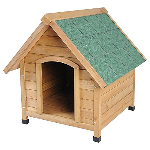 EUGAD Caseta de Madera Maciza para Perros Casa para Perro Animal Pequeño Casetas de Perros para Jardín Impermeable 76x76x72 cm 0037HT
