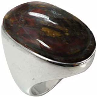 Sterling Silver Ring with Oval Pietersite Stone (BTS-NRB5973/PIT/R)