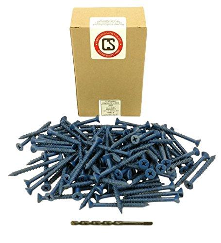 "Chenango Supply 1/4 x 2-3/4"" Flat Head Concrete Screw Anchor. 100 Pieces with Drill Bit (Miami-Dade Compliant) (1/4 x 2-3/4)"