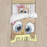 Dachangtui Baby Shower Greeting Card with Cute Cartoon Owl Girl Juego de Cama de poliéster, Juego de 3 Piezas, Funda nórdica Suave, Tela de algodón a Juego, Juego de Dos Camas Individuales, Funda