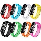 FSFA Mode Digital LED Homme Femme Smartwatch Sports Watch Bracelet Unisexe Silicone Bande Montres-Bracelets Montre électronique étudiante à écran Tactile (A-Bleu, One Size)