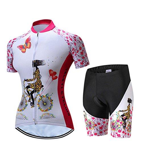 Shenshan Radsport-Trikot-Shorts Anzüge für Damen Radtrikot-Sets mit Reißverschluss Zip-Shirts Kurzarm MTB-Tops Rennrad-Fahrradbekleidung Sommerrennen für Damen Damen Schnell trockene setzt Größe XXL