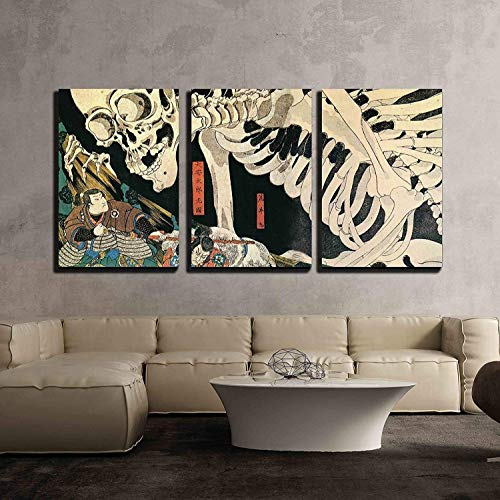 wall26 - 3 Piece Canvas Wall Art - Utagawa Kuniyoshi - Takiyasha The Witch and The Skeleton Spectre - Ukiyo-E - Modern Home Art Stretched and Framed Ready to Hang - 24'x36'x3 Panels