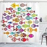 ABAKUHAUS Pescado Cortina de Baño, Coloridos Peces de Acuario, Material Resistente al Agua Durable Estampa Digital, 175 x 200 cm, Multicolor