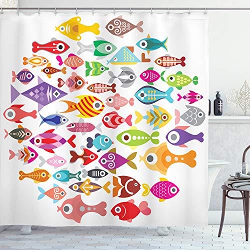 ABAKUHAUS Pescado Cortina de Baño, Coloridos Peces de Acuario, Material Resistente al Agua Durable Estampa Digital, 175 x 220 cm, Multicolor
