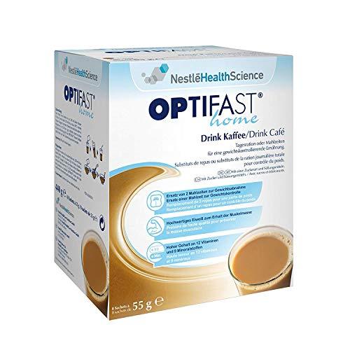 OPTIFAST home Diät Drink Kaffee zum Abnehmen | eiweißreicher Mahlzeitenersatz mit wichtigen Vitaminen und Mineralstoffen | schnell und lecker | von Nestlé Health Science | 8 x 55g