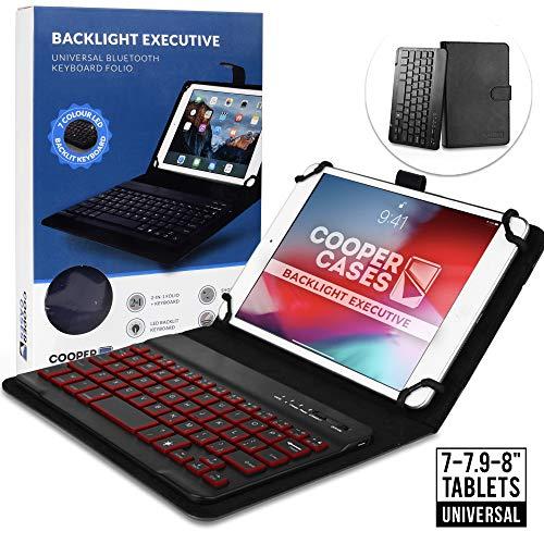 7-8 Zoll Tablet Hülle mit Tastatur, Cooper Backlight Executive 2-in-1 kabellose Bluetooth-Tastatur mit LED-Hintergrundbeleuchtung, Leder, Reiseetui, Mappe, Standfuß, 7 Farben (Schwarz)