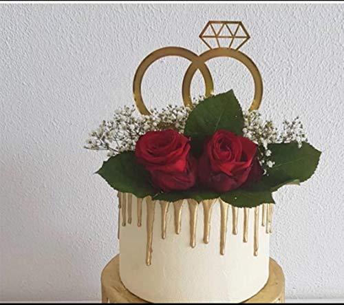 Diamond Ring Cake Topper, Verloving, Bruiloft Feestartikelen (Goud) Zilver
