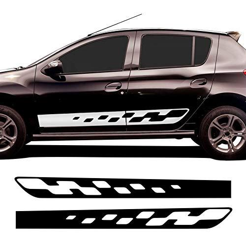 BYOLPMKK Pegatinas de Coche 2 Piezas Car Styling Side Skirt Stripes Decals Racing Sport Graphics para Renault Dacia Sandero 2 RS Sticker Accesorios (Color Name : Gloss White)