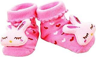 Lovelegis, Calcetines antideslizantes para niños - bebés - 0/12 meses - fantasía - conejito - corazones fucsias - hombre - mujer - unisex - idea de regalo de cumpleaños