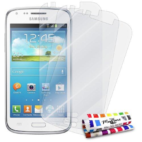 MUZZANO - Set di 3 pellicole protettive per Display Ultra Trasparenti, per Cellulare/Tablet Samsung Galaxy Core / I8260 Trasparente