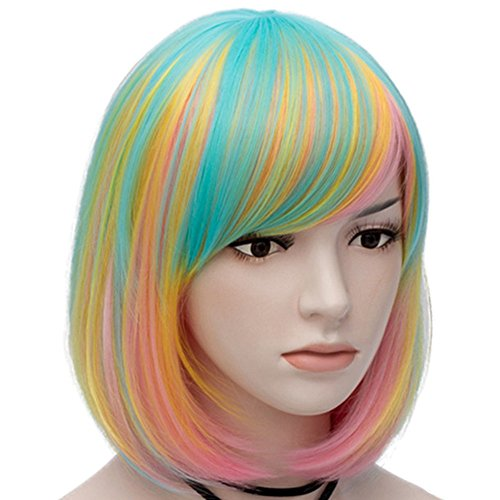 Mildiso Bob Wigs Short Colorful Wig for Girls Women ( Green Pink Gold Light Blue ) Straight Cosplay Wig Halloween Costume Wig Oblique Bangs with Wig Cap M021G