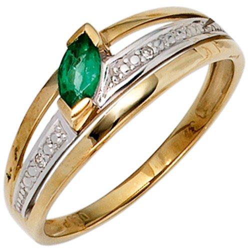 Damen Ring 585 Gold Gelbgold bicolor 1 Smaragd grün2 Diamanten 0,01ct. Goldring - 52