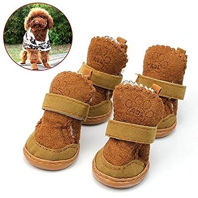 4Pcs Lovely Warm Adjustable Pet Dog Puppy Winter Cotton Anti-slip Snow Cozy Shoes Boots
