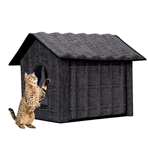 GWELL Katzenhaus Katzenhöhle Stabil Winterfest Faltbar Katzenhütte Haustier Haus Cat House mit Abnehmbarer Matratze weich warm Farbeauswahl für Katzen, Welpen, Hasen und Kleintiere (dunkelgrau)