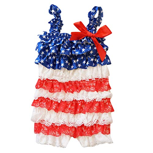 Sameno Infant Baby Boys Girls Ruffle Lace Stars Striped 4th of July Romper Jumpsuit Outfit Clothes (2-3 Years) Red