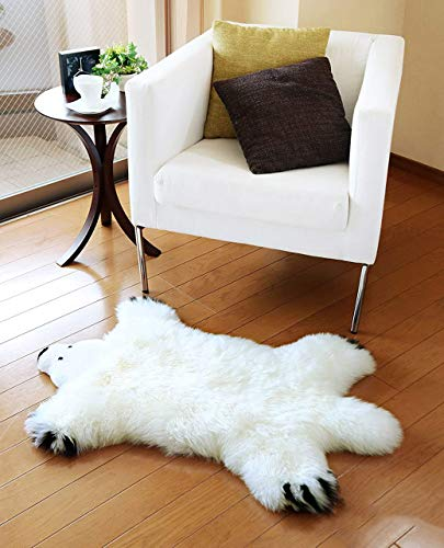 OKAYDA Genuine Australia Sheepskin Area Rug Soft Lambskin Decorative Rug Bear Design for Baby's Bedroom Single Pelt (White)