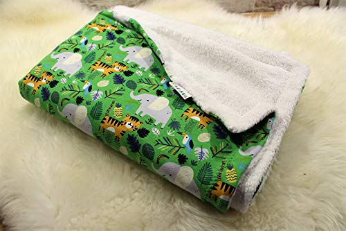 kuschelige Babydecke Kuscheldecke Wagendecke Baby-Decke Dschungel Elefant Tiger Tiere handmade