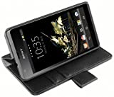 mumbi Echt Leder Bookstyle Case kompatibel mit Sony Xperia SP Hülle Leder Tasche Case Wallet, schwarz