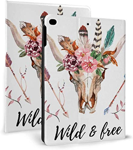 Ipad Mini Case, Ipad Mini 2/3 Case, Ipad Mini 4 Case, Ipad Mini 5 Case, Bull Head with Flowers and Feathers Cover with Auto Sleep/Wake for 7.9' Ipad Mini 4 5