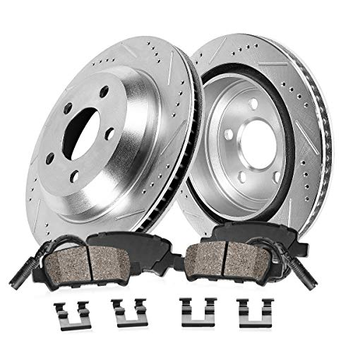Callahan CDS03711 REAR 300mm Drilled & Slotted 5 Lug [2] Rotors + Brake Pads + Clips + Sensor [fit BMW 320 xDrive]