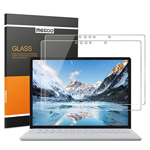 [2 Pack] MEGOO Surface Laptop Screen Protector [Tempered Glass], [Ultra Clear] [Smooth Touching] [Quick Response] [Anti-Scratch] Compatible for Microsoft Surface Laptop 2 (2018 Release) - 13.5 Inch