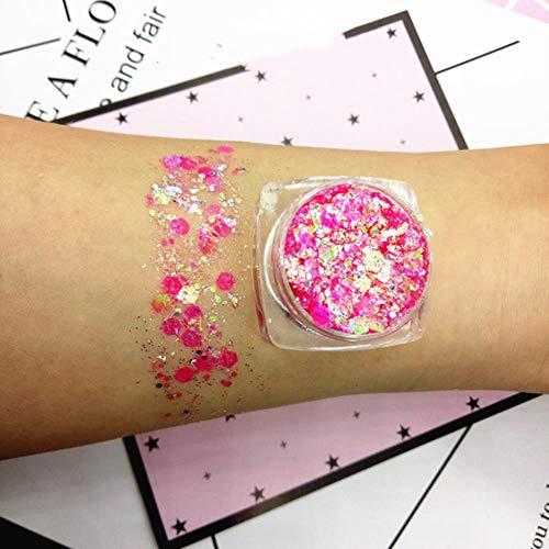 QINQ 30g 18 Couleurs Glitter Shimmer Fard À Paupières Visage Corps Oeil Bijoux Pigment Sequin Brillant Longue Durée Étanche Maquillage Outils, 07