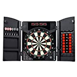Dartboard Cabinet Set Electronic Board with Integrated Wood Door and Steel Tip Dart